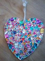 LARGE HANDMADE GEM ENCRUSTED HANGING HEART GIFT - new original