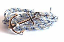 Bracelet corde écru et bleu ancre de marin