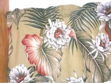 Tropical Hawaiian 100% Cotton Barkcloth Fabric VALANCE ~Night Blooming-Olive~