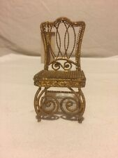 Vintage Gold Metal Miniature Dollhouse Chair
