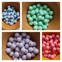 Silicone beads 10x15MM ROUND multi UK SELLER craft diy freePP GREY MINT PINKBLUE