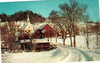 Vintage Postcard - New England Village In Winter Snow Covered Church #4003