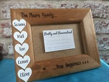 Personalised Family Photo Frame With White Wooden Hearts