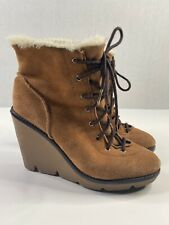 Women's Michael Kors Lace Up Suede Sherpa Boots Wedge Booties Camel Size: 6 M