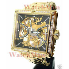Aqua Master Mechanical Mens Stainless Steel Band Gold Diamond Quartz Dial Watch