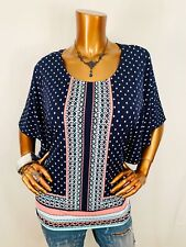 JM Collection L Top Stretch Polka Squares Butterfly Blouse Shirt Gems Studs Crew