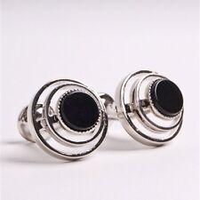 PENROSE Di Stilista Londra argento Cheshire sollevato ANELLI NERO-RRP £ 75 #CL 10