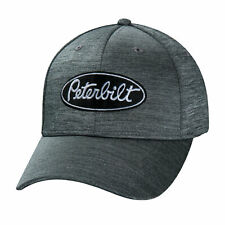 Peterbilt Motors Cap - Grey/Silver Stretch Fit Fitted Chambray Trucker Hat
