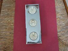 Ancien bloc complet de trois interrupteurs à fusibles & plaque de finition inox
