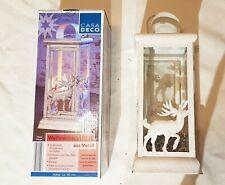 CASA DECO Weihnachtslaterne aus Metall 40cm Kerze Vintage-Look Hirsch Glitzer 1A