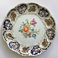 Antique MEISSEN Decorative Porcelain Plate Flowers Royal Blue Gold Trim 11.5 in
