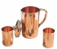 Pure Copper Water Pitcher Jug Set 2 Glasses Cup Tumbler (Brown,Capacity- 1500 Ml