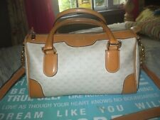 Auth Gucci vintage tan leather coated canvas lovely speedy satchel shoulder bag