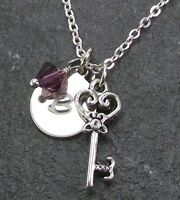 Personalized Key to my Heart Necklace with Swarovski Crystal Custom Initial Disc