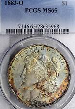 1883-O MS65 Morgan Silver Dollar $1, PCGS Graded, Light Color EOR Toned!