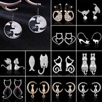 Women's Girl's Silver Plated Crystal Lovely Cat Wedding Ear Stud Earrings Gift