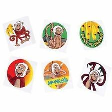 12 Monkey Zoo Jungle Temporary Tattoos Kids Party Goody Loot Bag Favor Supply