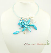 N13112717 blue shell white FW pearl flower choker necklace