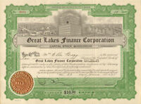 Great Lakes Finance Corporation > 1925 stock certificate share