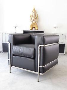 Cassina Le Corbusier LC 2 Sessel Leder schwarz Chrom Top, inkl. MwSt.!