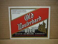 New listing Old Lauterbach Irtp 12 Oz Beer Label-Weber Waukesha Brg.,Milwaukee,Wisconsin