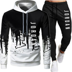 Herren 2Pcs Jogging Anzug Sweatshirt Trainingsanzug Sportanzug Hoodie + Hose Set