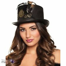 Adults Steampunk Gear Punk Top Hat Victorian Feathers Fancy Dress Accessory Tall