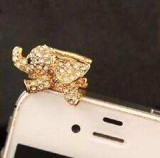 Elephant Crystal Anti Dust Plug Cap Phone Earphone Jack Charm Gold Colour
