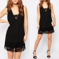 SALE Petite Black Cami Slip Mini Lace Hem V Neck Little Dress UK 8 US 6 ❤