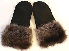 Gloves Fur Mittens Lambskin Raccoon Lambskin Fur Raccoon Gloves Black