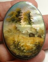 Vintage Fedoskino Russian Hand Painted Landscape on MOP Signed Brooch