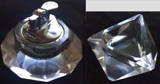 VINTAGE LIGHTER AND ASHTRAY SET, CUT CRYSTAL GLASS