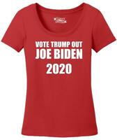 Ladies Vote Trump Out Biden 2020 Scoop Tee Democrat Anti Trump Elections