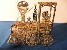 Metal Train Engine Christmas Ornament 3D Holiday Decor Teddy Bear Noel EUC Tree