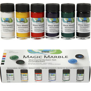 Set of 6 Marbling Inks for Adults Crafts - Basic Colours