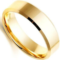 SZ6 Gold Stainless Steel Ring Band Titanium Women Mens Wedding Rings 8MM Width
