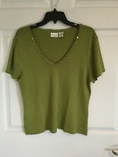 Kim Rogers Woman's X Large Sweater  Pea Green Wood Beads On Collar -