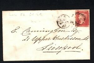 GB 1862 1d Red perf JG pl52? on Cover to Liverpool