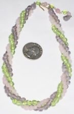 "VINTAGE NECKLACE 3 STRAND TWISTED GLASS BEADS PINK GREEN PURPLE 16"" RARE JAPAN A"