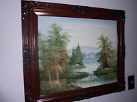 Oil on canvas attributed to Bruce Crane Landscape Forest Lake Waterfall Framed