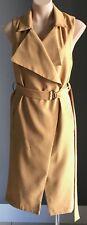 NWT Mustard REDBERRY FASHION Sleeveless Lightweight Belt Trench Coat Size S/8