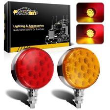 2pc Round 42 LED Red Amber Side Marker Turn Signal Semi Truck Fender Stud Lights