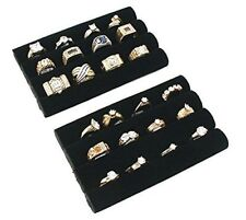 2pc Black Velvet Tray Ring Jewelry Display Organizer Ring Holder Set