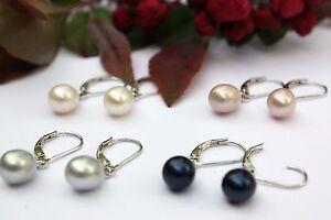 11mm Violett  Süßwasser Perlen Schmuck Ohrhänger Ohrringe Ohrstecker 925 Silber
