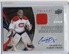 2008 09 UD Trilogy 3 Star Scripted Swatches Jrsy Auto Carey Price #66/100 Habs