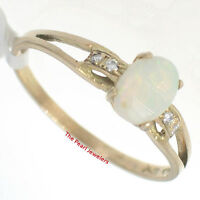 14k Yellow Gold Genuine Diamonds, Cabochon Opal Solitaire with Accents Ring TPJ