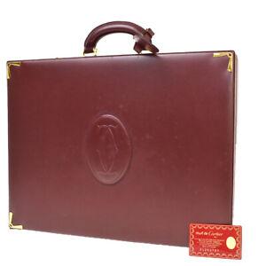 Must De Cartier 2C Logos Suitcase Briefcase Hand Bag Leather Bordeaux 35MI832