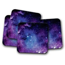 4 Set - Purple Solar System Cork Backed Drinks Coaster Nebula Galaxy Space #8364
