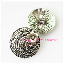 8Pcs Antiqued Silver Tone Flower Charms Pendants Button For Sewing 17mm