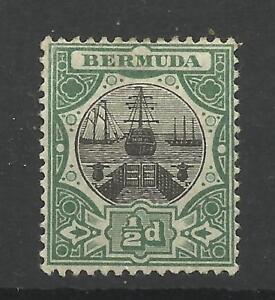 Bermuda 1906-10 Sg 35, 1/2d Black & Green, Lightly Mounted Mint [1649]